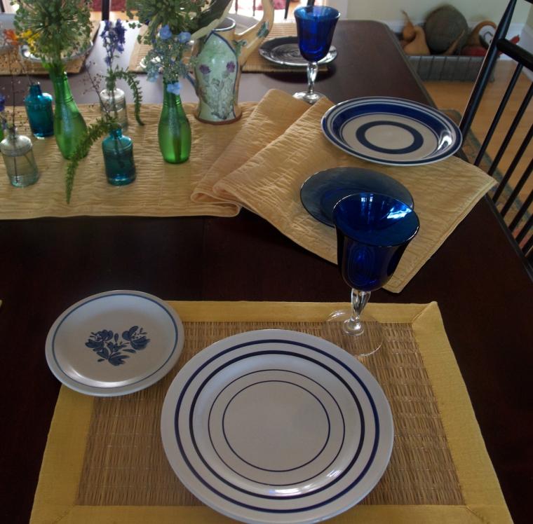 blue/white table