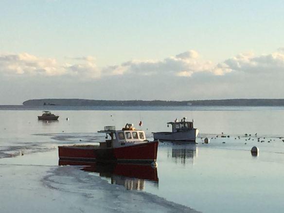 Rockport Harbor/winter/lobster boats