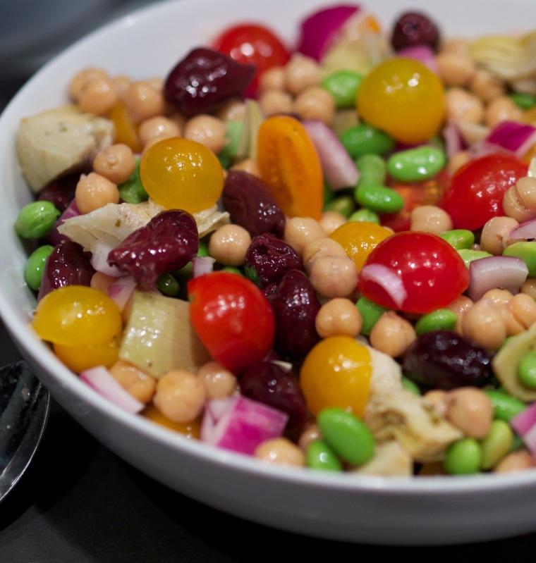 Edamame/chickpea salad